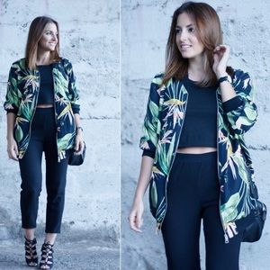 Zara Birds of Paradise Print Zip Up Bomber Jacket